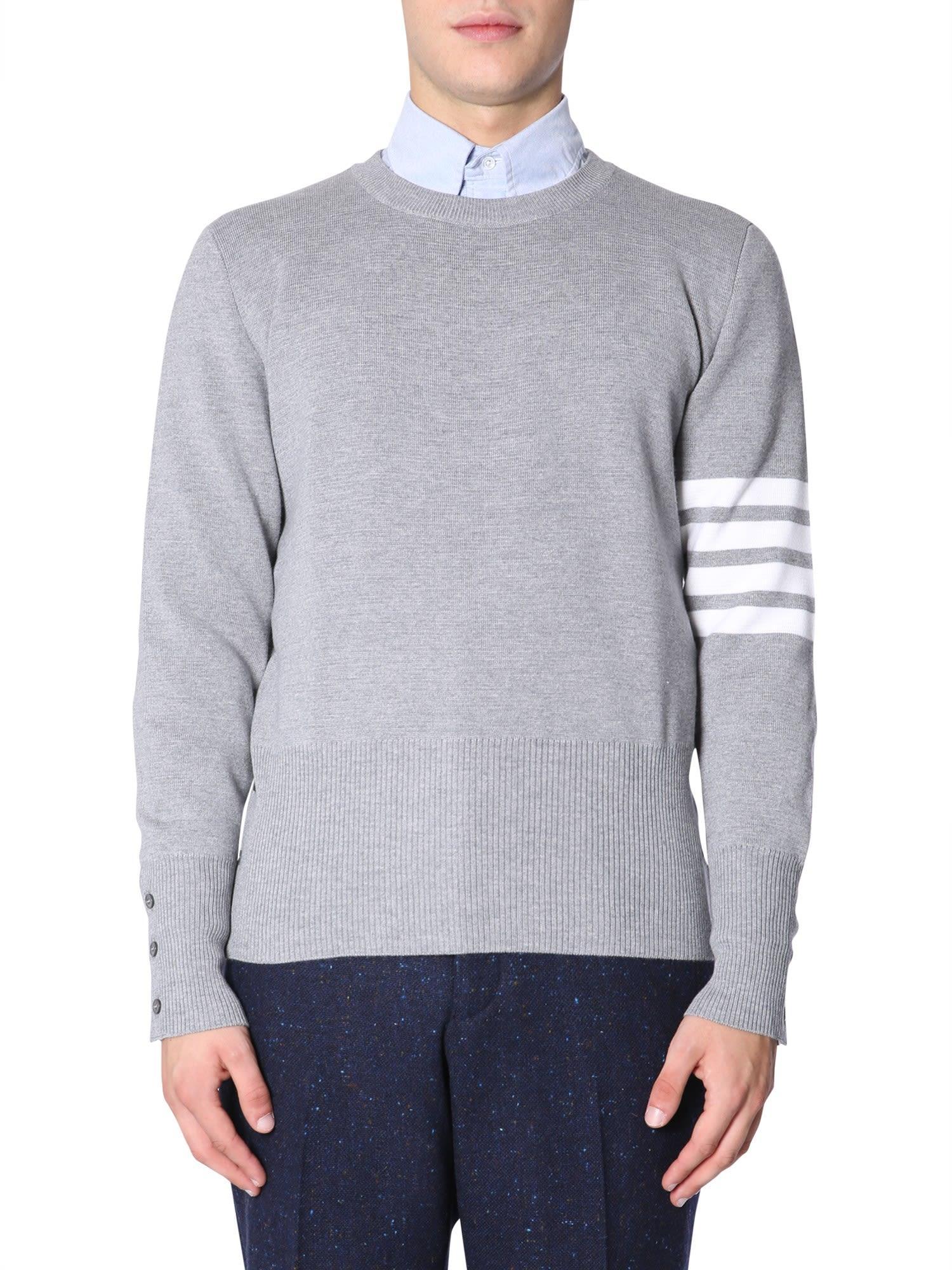 Thom Browne Round Collar Sweater In Grigio