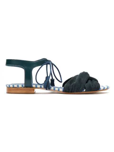 Sarah Chofakian Lace Up Suede Sandals In Blue