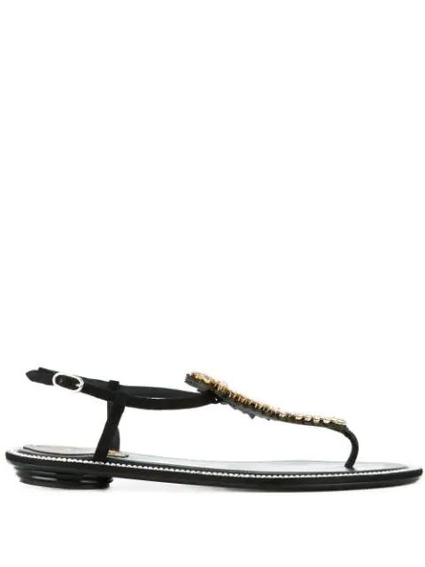 RenÉ Caovilla Embellished T-bar Sandals In Black