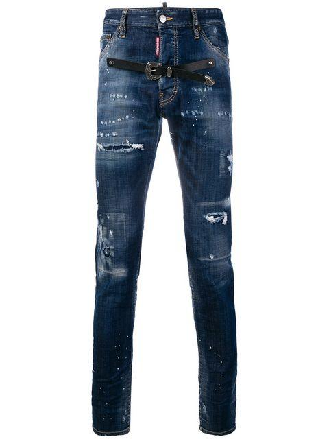 Dsquared2 Belt Ripped Jeans - Blue