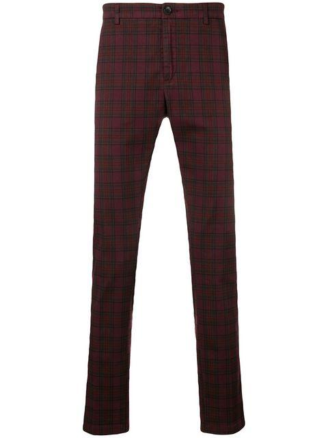Department 5 Checked Slim-fit Trousers In Red