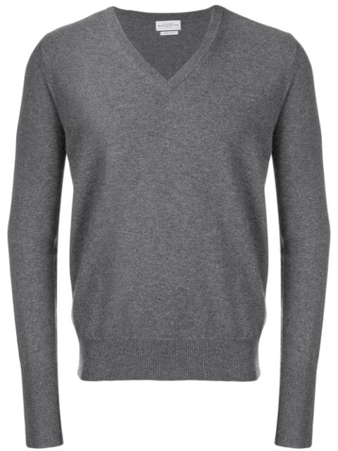 Ballantyne V-neck Jumper In Grey