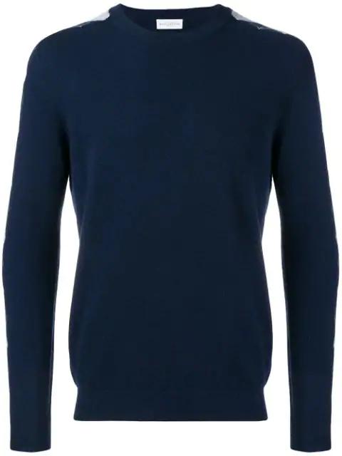 Ballantyne Argyle Pattern Sleeve Jumper In Blue