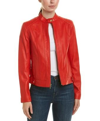 Cole Haan Leather Racer Jacket In Red