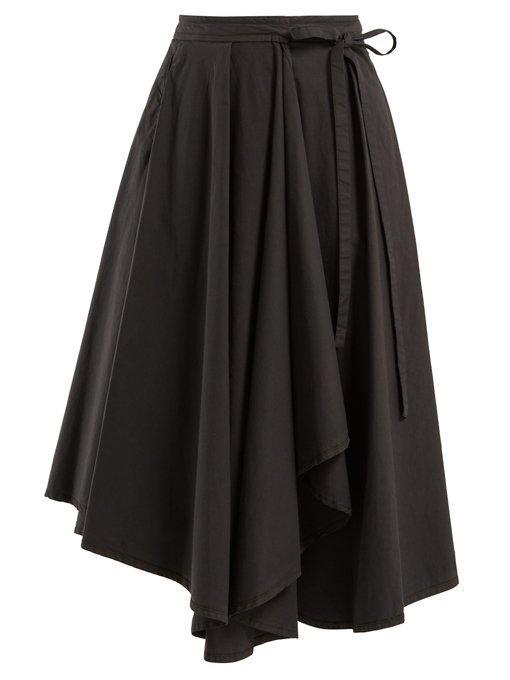 Lemaire Draped Cotton Midi Skirt In Dark Grey