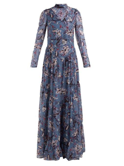Erdem - Marcia Tulip Dream Print Silk Gown - Womens - Blue Multi