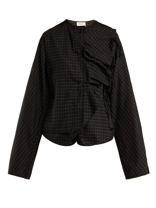 Lemaire - Checked Asymmetric Wool Blend Top - Womens - Black Multi