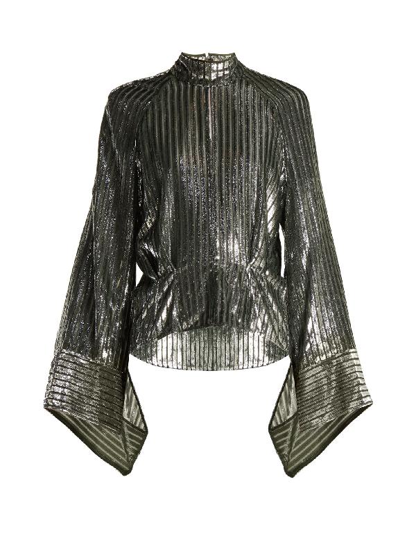 Petar Petrov Eartha Metallic Striped Blouse In Black Silver