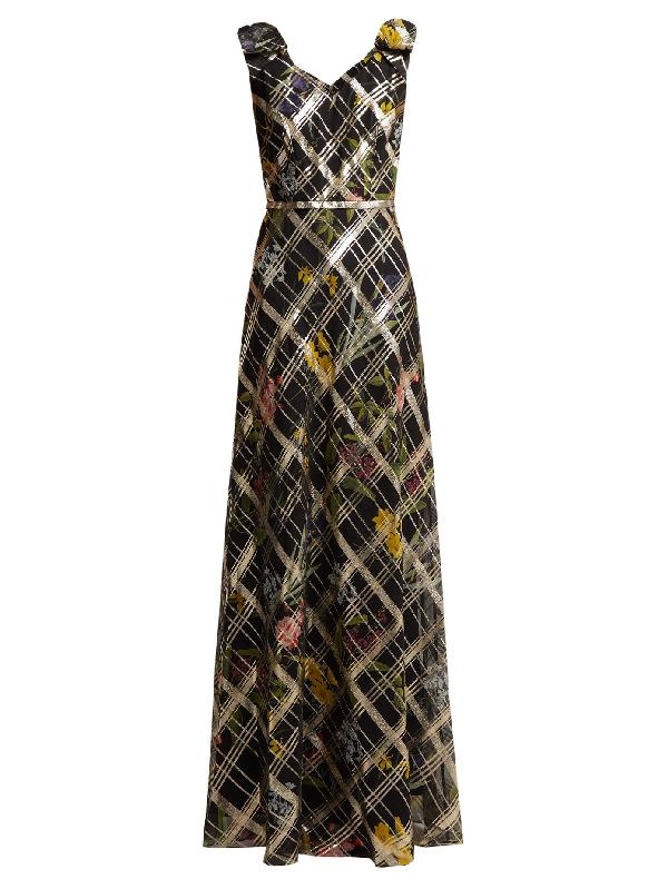 Goat Gardenia Floral-print Silk-blend Dress In Multicoloured Floral Print, Gold-lamÉ