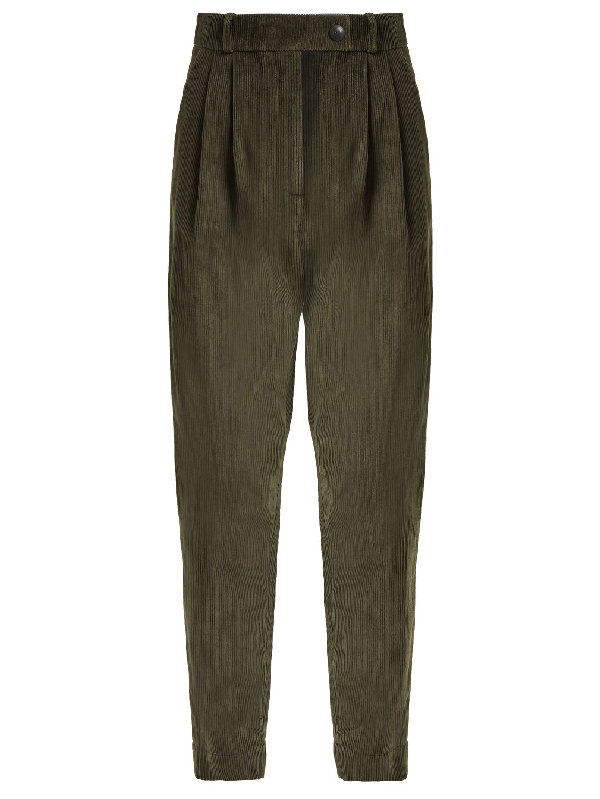 A.w.a.k.e. Tapered-leg Cotton-corduroy Trousers In Dark Green