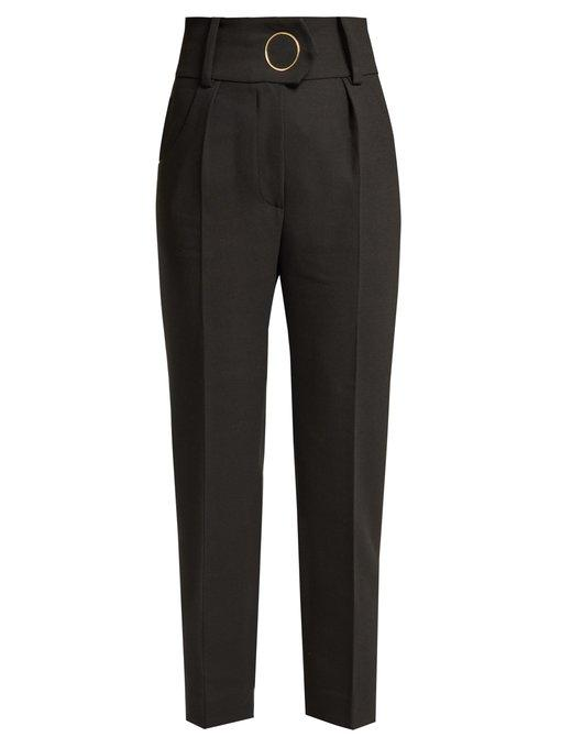 Petar Petrov - Hanne High Waisted Wool Trousers - Womens - Black Multi