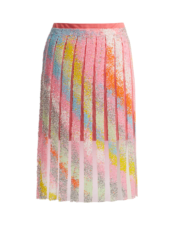 Germanier Bead-embellished Tulle And Jersey Mini Skirt In Multi