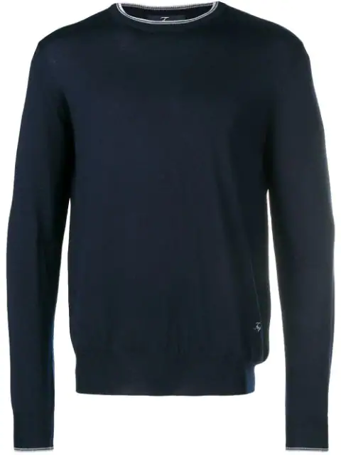 Fay Round Neck Jumper In Blue