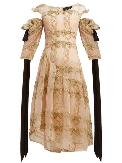 Simone Rocha - Tinsel Trim Asymmetric Tulle Dress - Womens - Gold