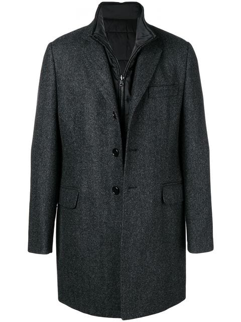 Fay Single Breasted Coat In Grey