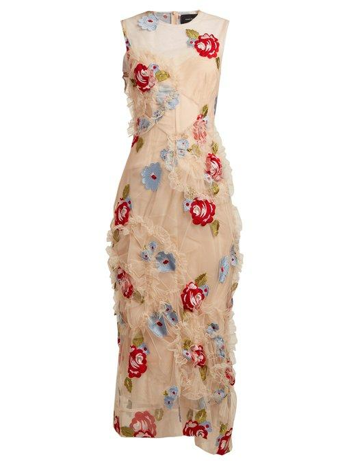 Simone Rocha - Floral Embroidered Ruffled Tulle Dress - Womens - Nude