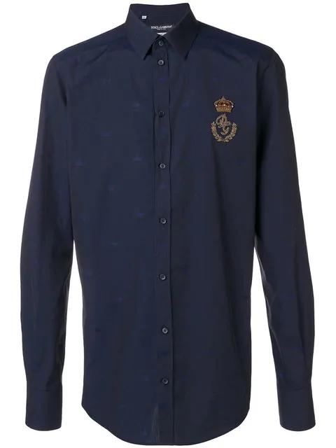 Dolce & Gabbana Crowned Crest Logo Shirt In Blue