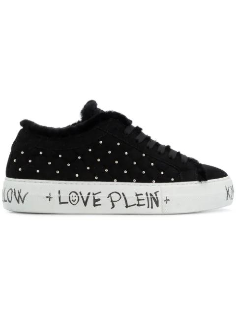 Philipp Plein Microstud Quilted Low Top Sneakers In Black