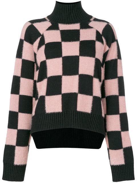 Versus Checkered Roll-neck Sweater - Black