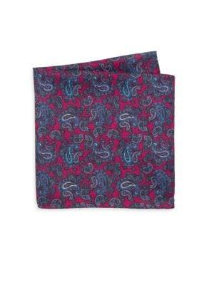 Saks Fifth Avenue Collection Silk Polka Dot & Paisley Pocket Scarf In Pink Blue