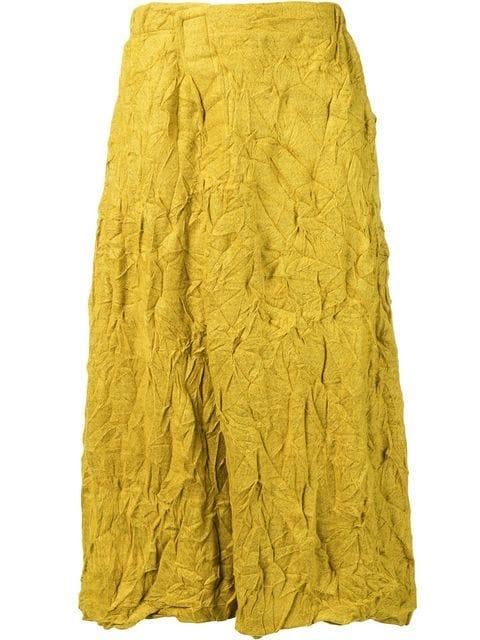 Plantation Crease Effect Skirt In Yellow