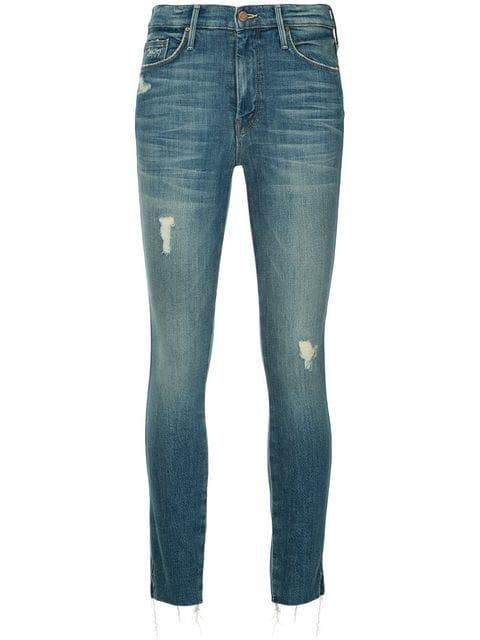 Mother Skinny Distressed Jeans - Blue