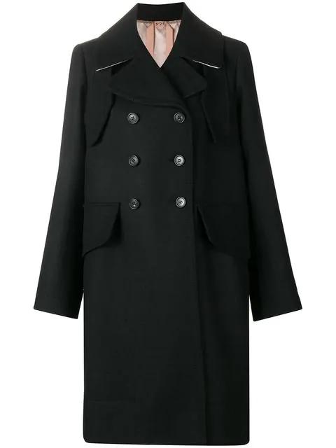 N°21 Belted Classic Midi Coat In Black