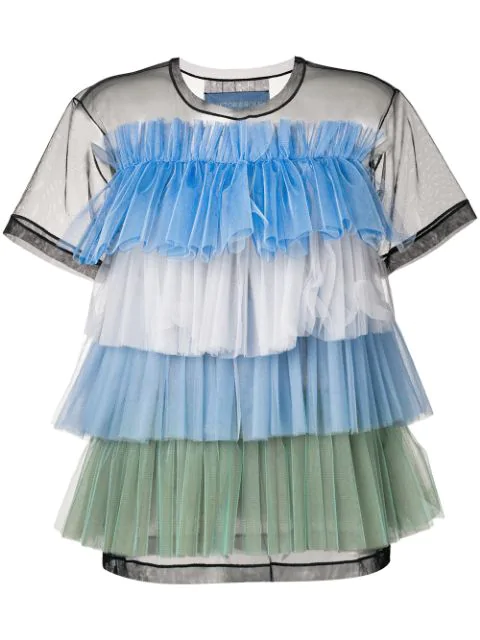 Viktor & Rolf Rainbow Stripes Ruffle Top In Blue