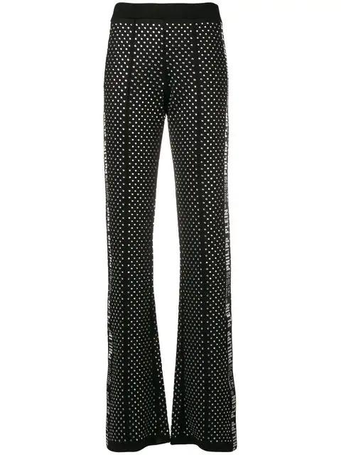 Philipp Plein Bootcut Logo Printed Trousers In Black