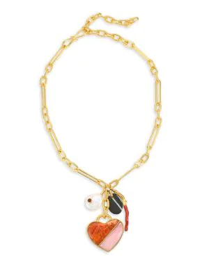 Lizzie Fortunato Venice Heart 18k Goldplated, 17mm Baroque Freshwater Pearl & Mixed Gemstone Charm Necklace