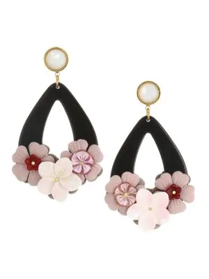 Lizzie Fortunato Jasmine 18k Goldplated 12mm Round Pearl & Flower Teardrop Earrings In Pink