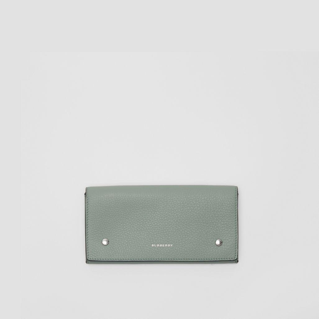 Burberry Two-tone Leather Continental Wallet In Grey Blue