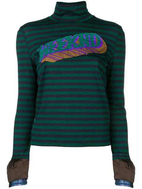 Kolor Striped Longsleeved Blouse - Green In Blue