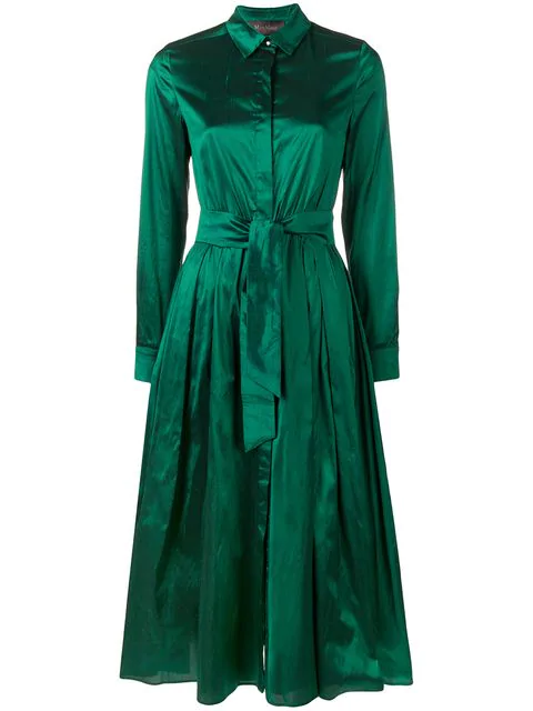 Max Mara Belted Long In Green