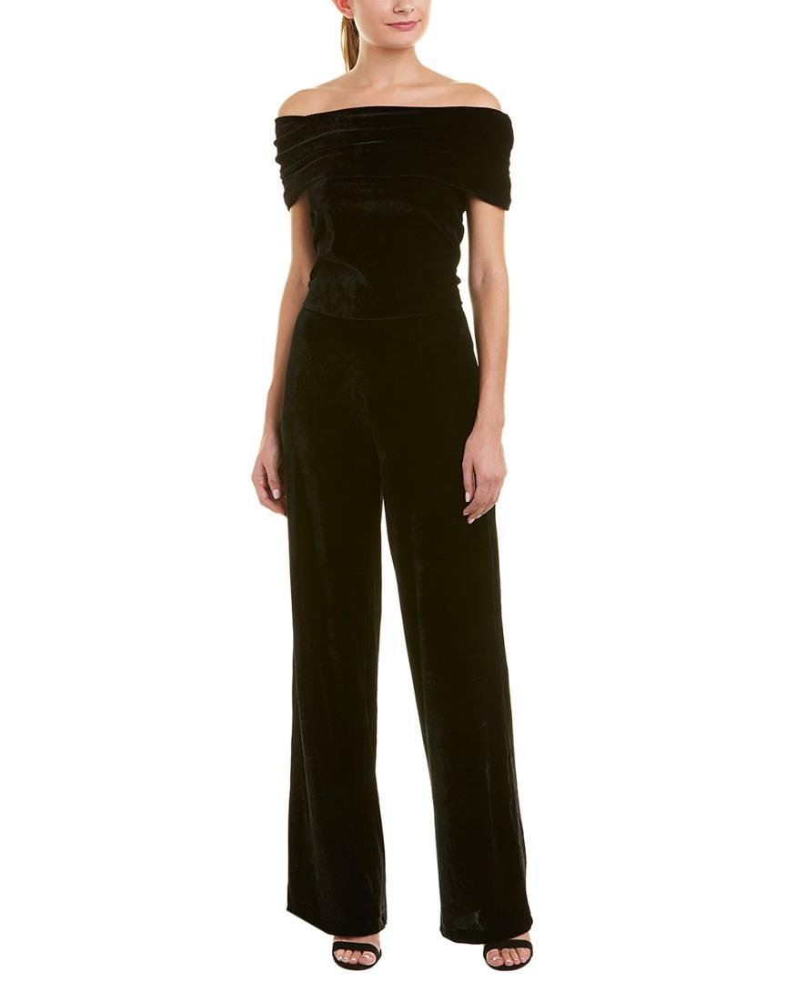 Reiss Tami Velvet Jumpsuit In Black