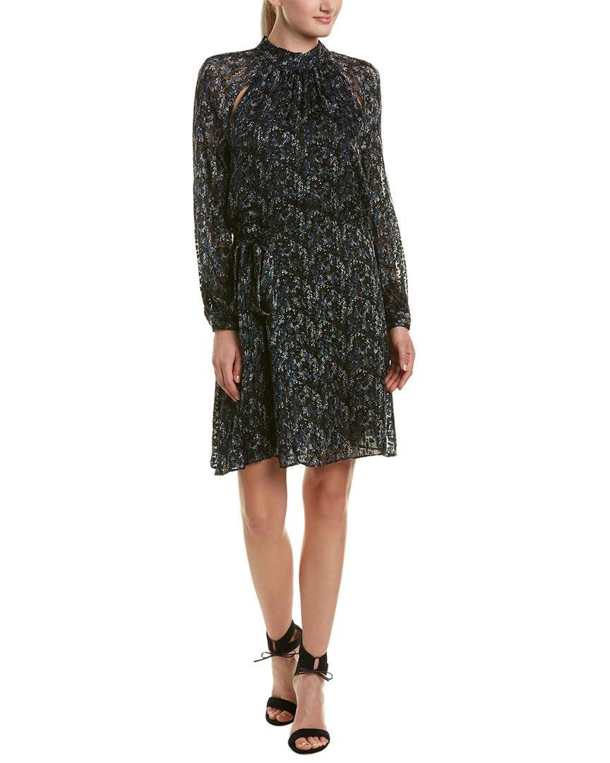 Reiss Aubrie Silk Cold Shoulder Shift Dress In Black