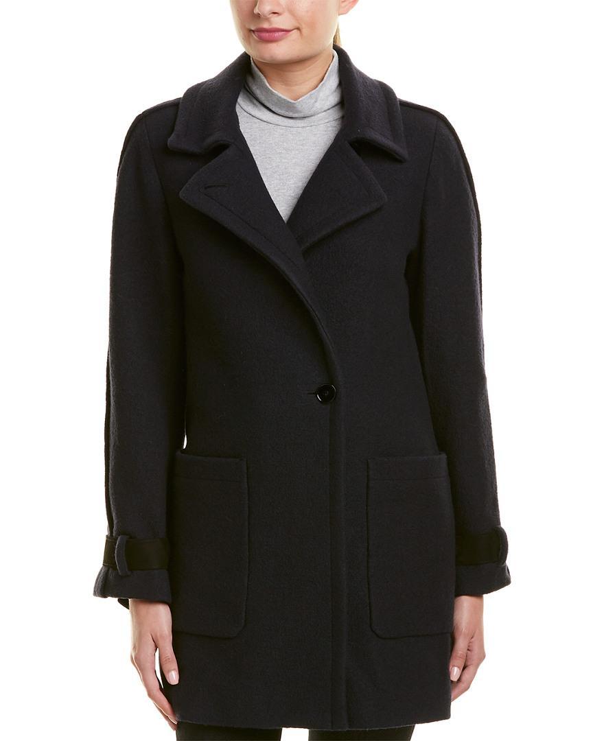 Reiss Aysha Wool Coat In Navy