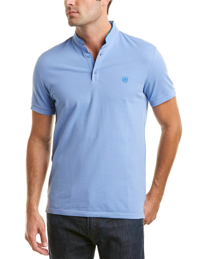 The Kooples The New Shiny Pique Fitted Polo Shirt In Blue