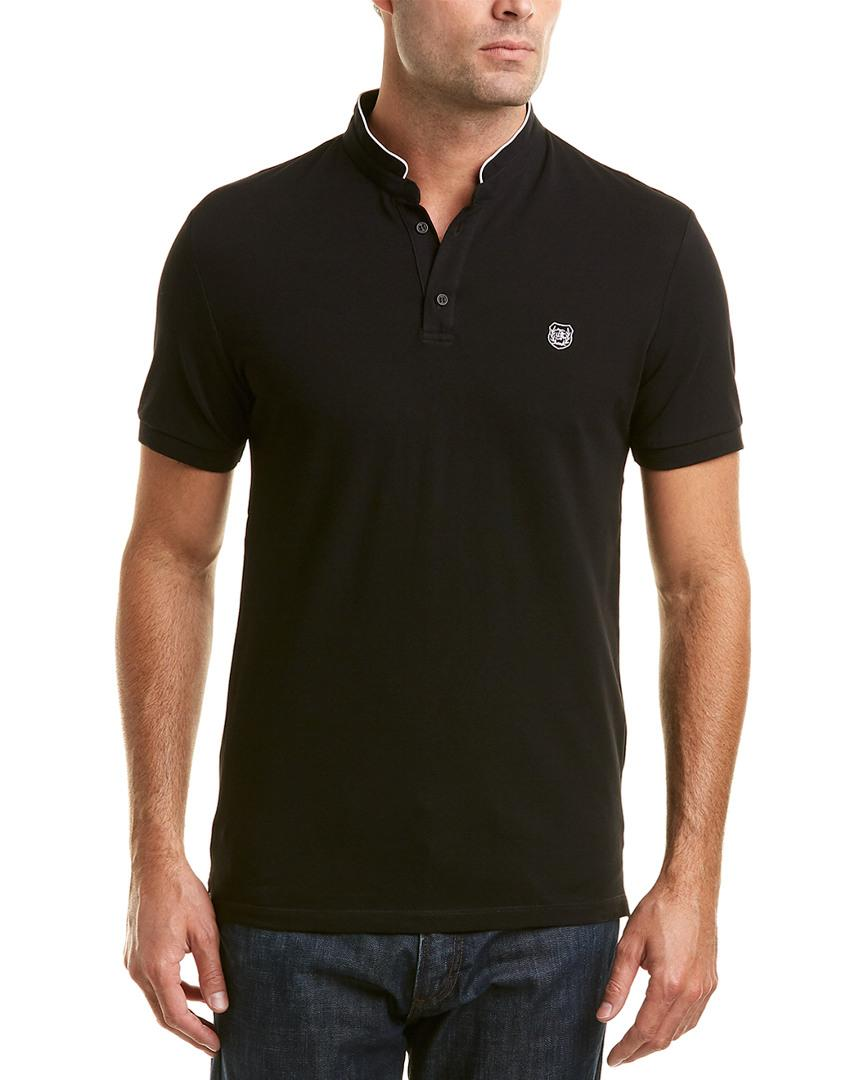 The Kooples The New Shiny Pique Fitted Polo Shirt In Black