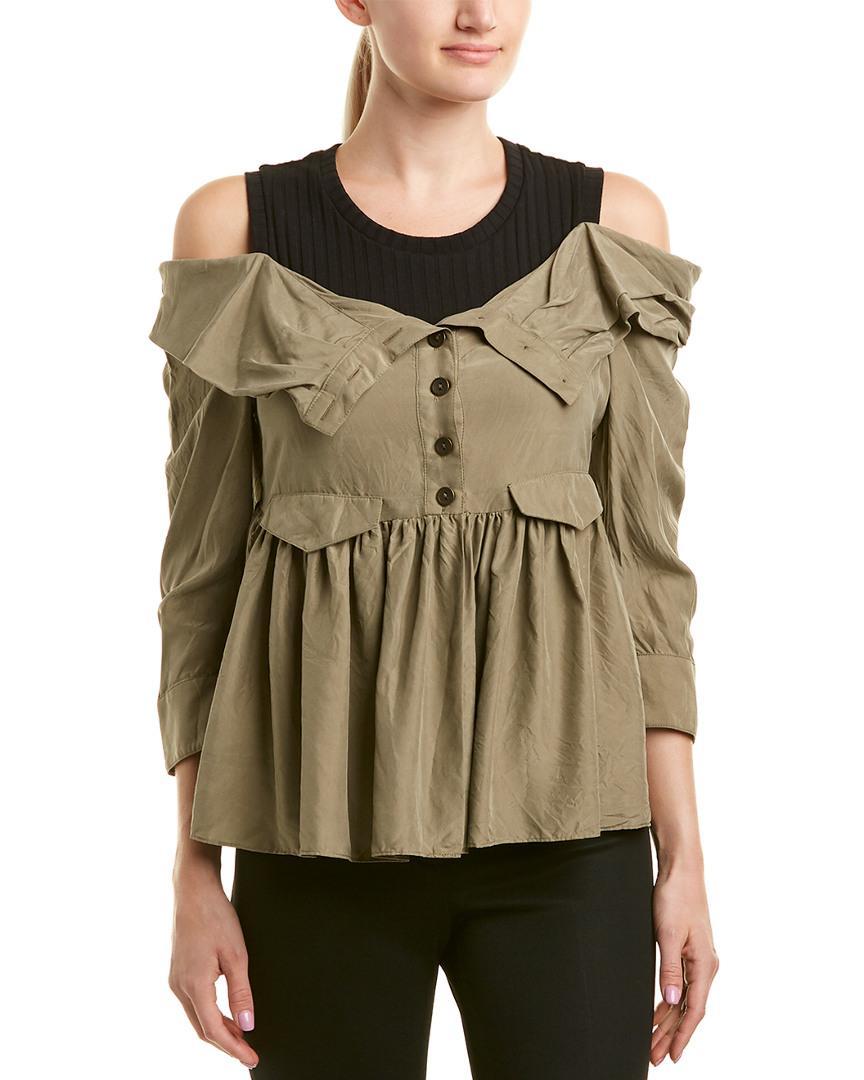 Nicole Miller Artelier Silk Top In Nocolor