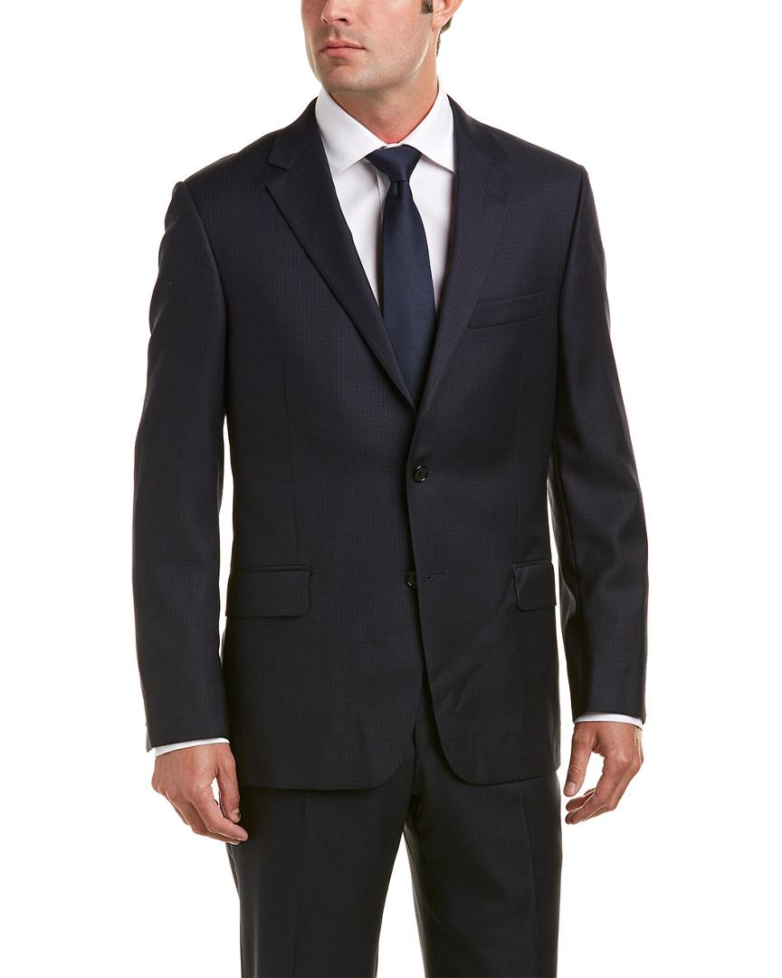 Hickey Freeman Wool Suit With Flat Front Pant In Blue