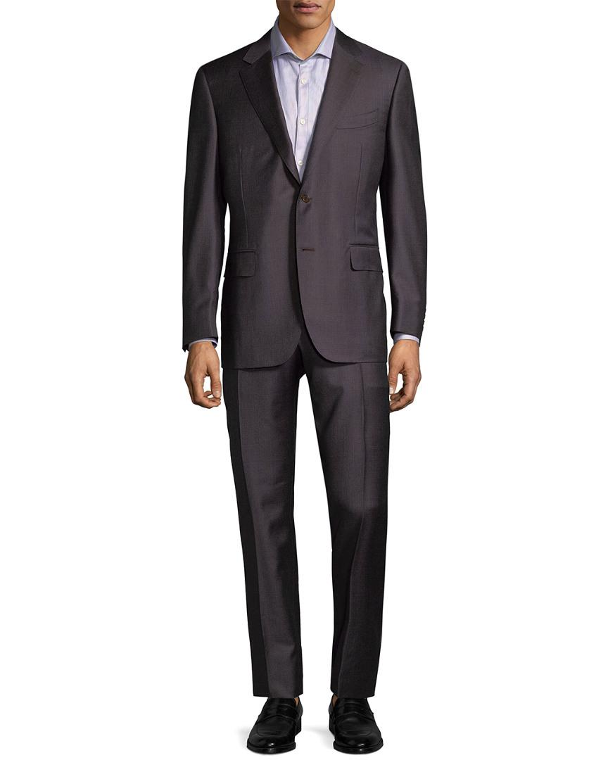 Canali Wool Stripe Suit In Nocolor