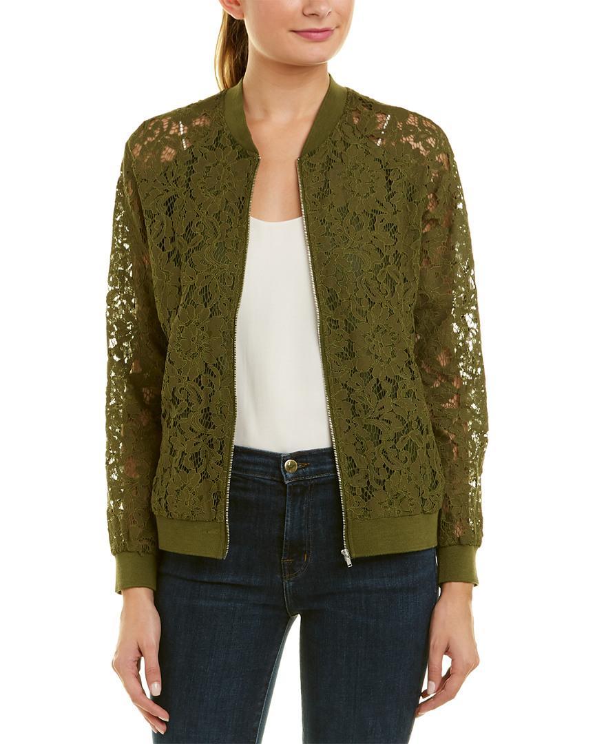 Bobi Black Lace Jacket In Green