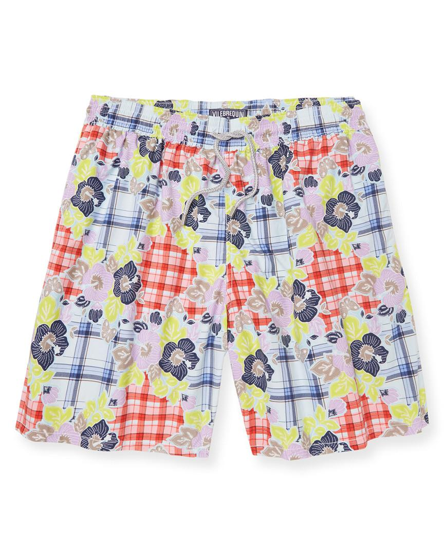 Vilebrequin Plaid & Flowers Swim Trunk In Nocolor