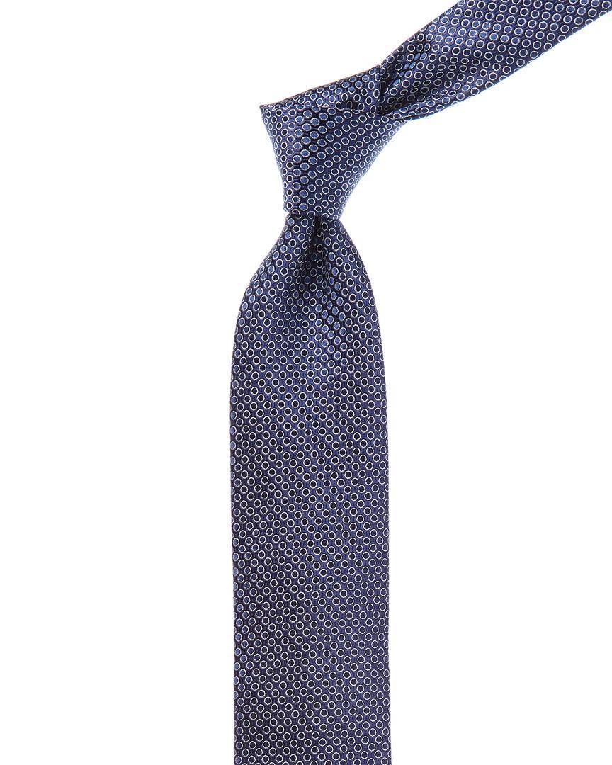 Canali Dark Blue Circle Silk Tie