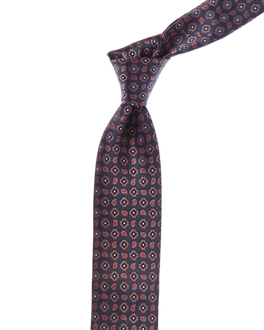 Canali Dark Blue And Red Paisley Silk Tie