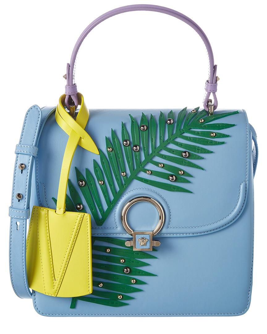 Versace Dv One Palm Stud Leather Satchel In Blue