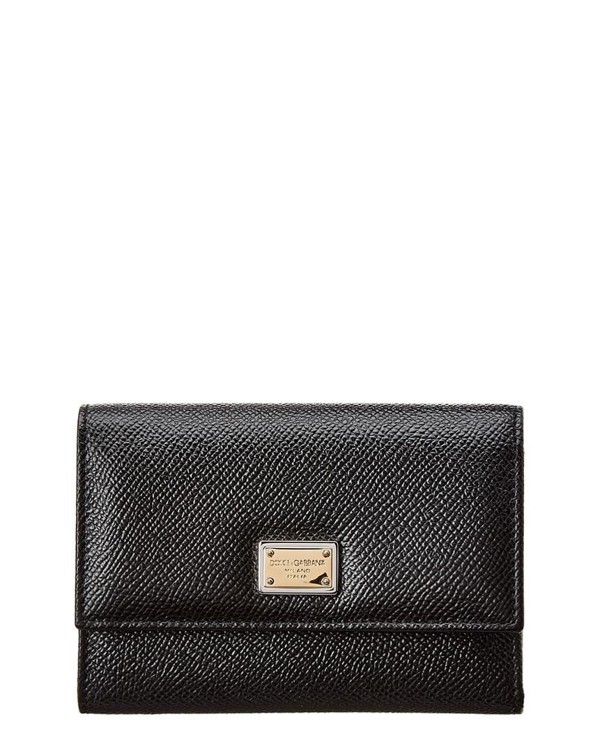Dolce & Gabbana Dauphine Leather Snap Wallet In Black