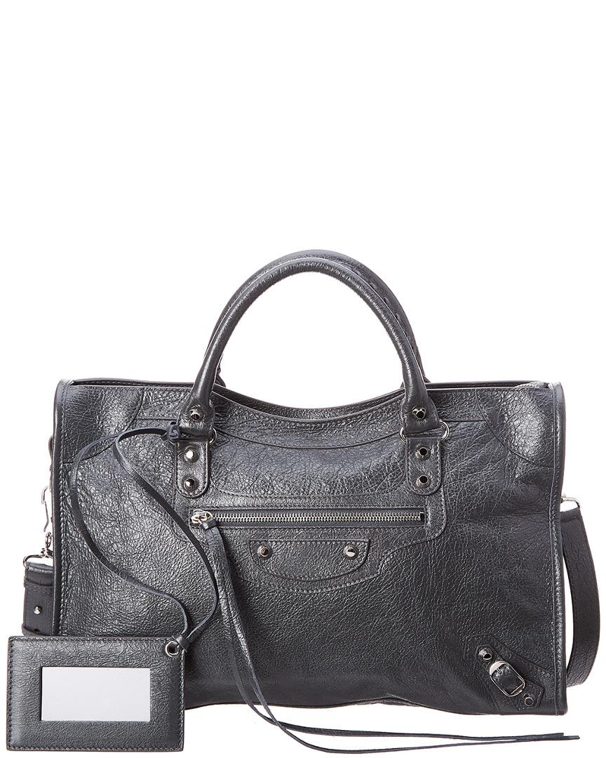 Balenciaga Classic Silver City Medium Leather Shoulder Bag In Grey