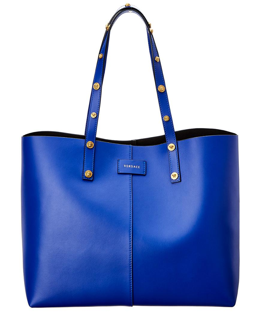 Versace Tribute Leather Tote In Blue